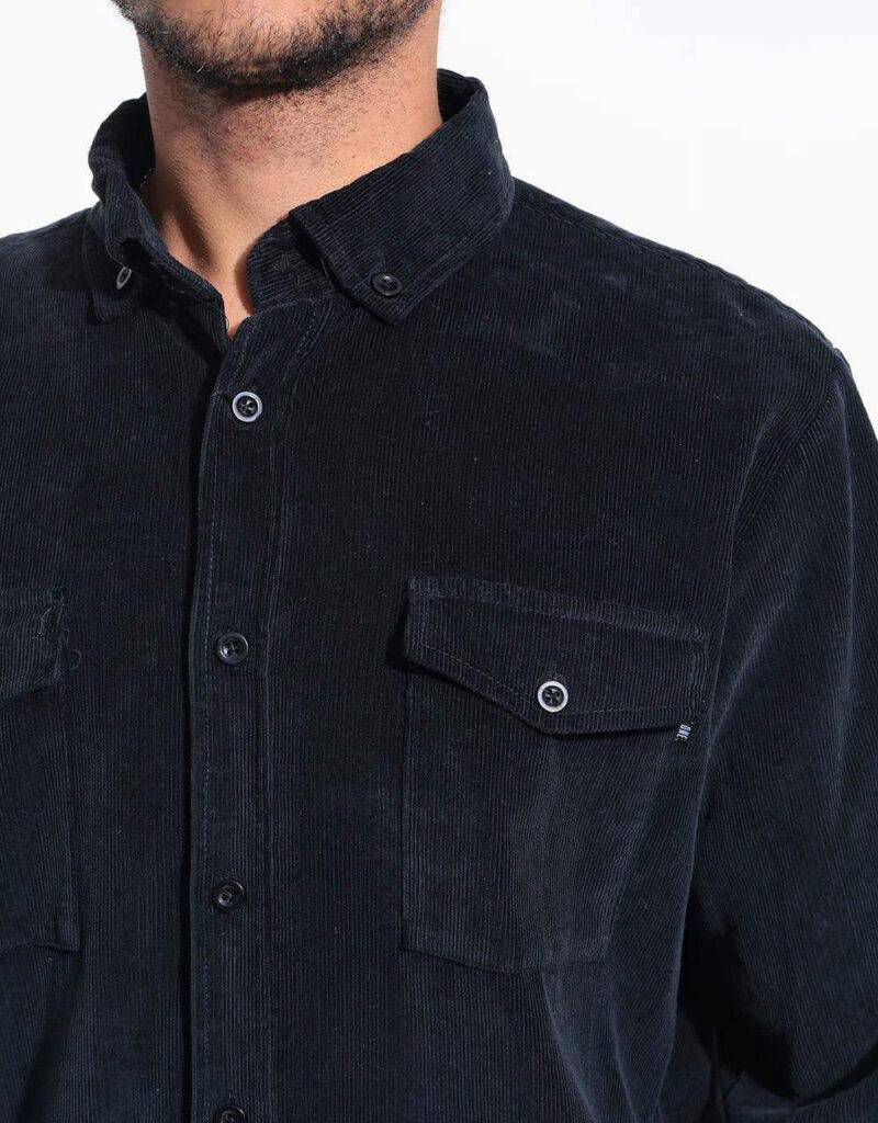 پیراهن کبریتی سرمه ای نمای جیب