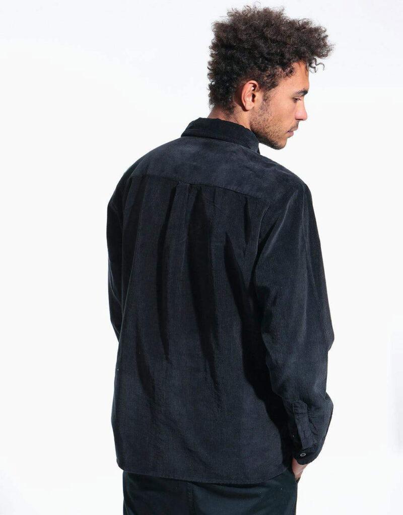 پیراهن کبریتی سرمه ای نمای پشت