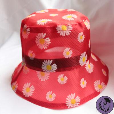 کلاه باکت توری گل دار رنگ قرمز