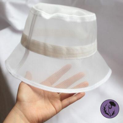 کلاه باکت توری سفید ساده