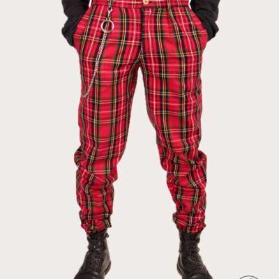 شلوار تارتان مدل p2113 رنگ قرمز